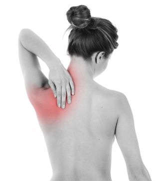 Woman having pain on her back, isolated on white