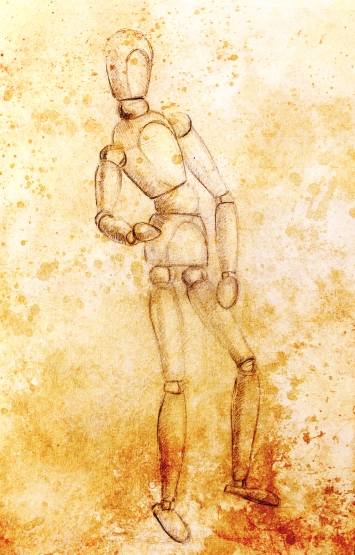 sketch of wooden posable drawing figure for artists on abstract background