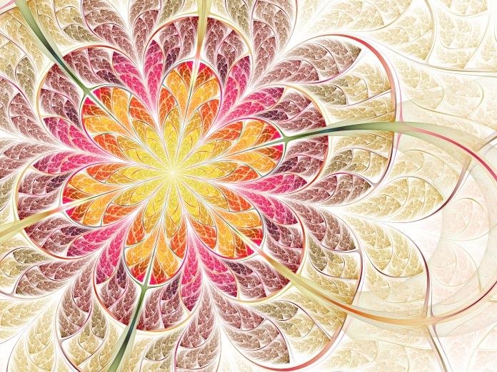 Colorful spring, fractal flower
